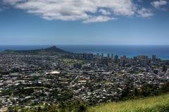 Пляж Waikiki, голова диаманта и Гонолулу стоковые фотографии rf