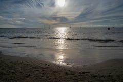Пляж Wailoaloa захода солнца Стоковое Фото