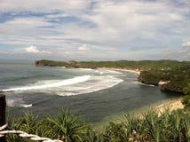 Пляж Wonosari Индонезия Sadranan стоковое фото rf