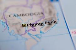 Пномпень на карте Стоковое фото RF