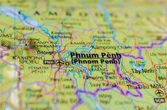 Пномпень на карте Стоковые Изображения RF