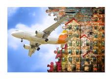 Побегите далеко от города, примите самолет и пойдите на каникулы! Стоковая Фотография RF