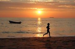 побегите заход солнца Стоковое Фото