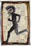 Побегите панк, бег - вектор нарисованный рукой, freehand делая эскиз к иллюстрация штока