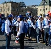 Победа вызывается добровольцем во время ` полка ` действия бессмертного на красной площади Москвы Стоковое фото RF