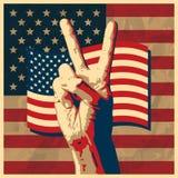 победа США знака флага предпосылки Стоковые Изображения RF