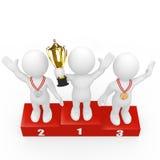 победители подиума людей 3d стоящие Стоковая Фотография