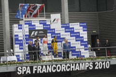 победители 1 гонки формулы стоковая фотография rf