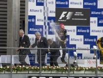 победители 1 гонки формулы стоковое изображение rf