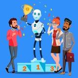Победитель робота стоит на первом месте подиума среди вектора людей изолированная иллюстрация руки кнопки нажимающ женщину старта иллюстрация вектора