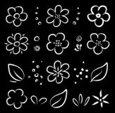 Побелите набор мелом цветков белой абстрактной руки вычерченный бесплатная иллюстрация