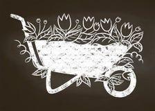 Побелите силуэт мелом винтажного кургана сада с листьями и цветками на доске мела иллюстрация штока