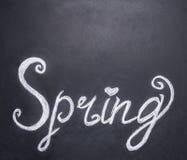 Побелите сочинительство мелом на доске весны, границу, с текстовым участком стоковое фото
