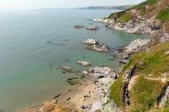 Побережье Англия Великобритания Корнуолла залива Whitsand Стоковые Фотографии RF