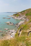 Побережье Англия Великобритания Корнуолла пляжа залива Whitsand Стоковое фото RF