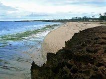 Побережье Индийского океана. Пляж. Прогулка людей вдоль берега. Afri Стоковая Фотография RF