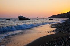 Побережье Кипра перед заходом солнца Стоковая Фотография RF