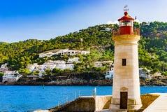 Побережье маяка на море порта de Andratx на острове Мальорки стоковые фото
