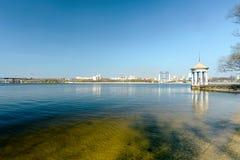 Побережье на острове Khortytsya Стоковые Изображения RF