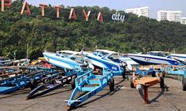 Побережье пляжа и быстроходного катера Паттайя Стоковая Фотография RF