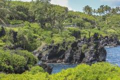 Побережье утеса лавы Мауи, дороги к Гане, Гаваи стоковое изображение