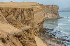 Побережье Ica Перу залива Paracas перуанское стоковое фото