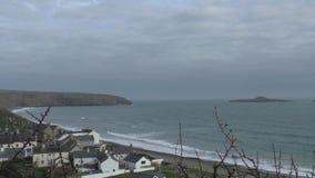 Побережье Welsh вида на море, Abersock сток-видео
