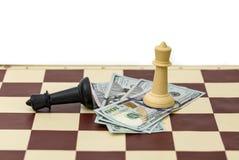 Победа и деньги шахмат Стоковые Фото