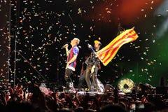 Победители Macklemore & Райан Левис Grammy во время его выставки в фестивале Cruilla Барселоны, 12-ое июля 2014 Стоковая Фотография RF