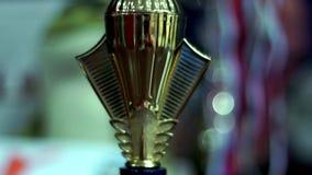 Победитель чашки золота Трофей победителя Чемпион чашки золота сток-видео