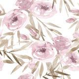 Побледнейте - розовые розы и пионы с серыми листьями на белой предпосылке картина безшовная Романтичный сад цветет иллюстрация бесплатная иллюстрация