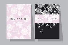 Побледнейте розовый и черный шаблон карточки цветков одуванчика Стоковое Изображение