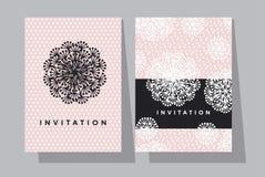 Побледнейте розовый и черный шаблон карточки цветков одуванчика Стоковая Фотография