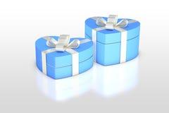 Побледнейте - голубая подарочная коробка в форме сердца Стоковая Фотография