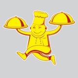 Повар бежит с подносом Желтый и красный r бесплатная иллюстрация