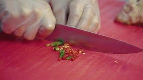 Повар прерывает перец chili для салата акции видеоматериалы