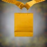 Повелительница в золотистых перчатках держа хозяйственную сумку. Стоковое Изображение RF