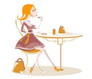 повелительница кофе driking snooty иллюстрация вектора