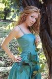повелительница платья зеленая Стоковая Фотография