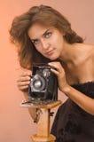 повелительница фотографируя ретро детенышей типа Стоковая Фотография RF