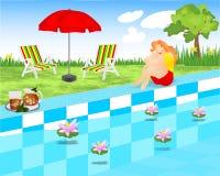 повелительница cdr около детенышей заплывания бассеина сидя бесплатная иллюстрация