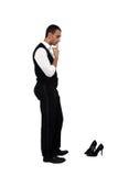 повелительницы смотря ботинок человека Стоковая Фотография RF