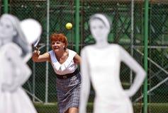 Повелительницы BCR раскрывают главным образом отверстие арены тенниса стоковое фото