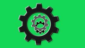 Поверните экран шестерней зеленый сток-видео