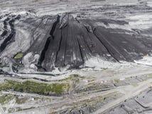 Поверхностная добыча угля в Польше Разрушенная земля над взглядом Стоковое Изображение