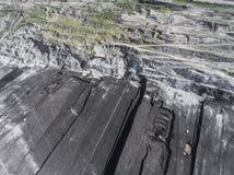 Поверхностная добыча угля в Польше Разрушенная земля над взглядом Стоковое фото RF