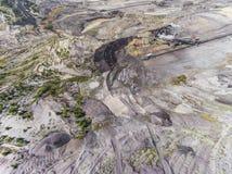 Поверхностная добыча угля в Польше Разрушенная земля над взглядом Стоковые Фото