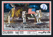 Поверхность астронавта и луны Стоковые Фото