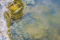 Поверхность воды лета цвета золотистая поверхностная вода пульсаций Прозрачное река, озеро Стоковое фото RF