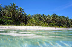 Поверхность воды и тропический песчаный пляж Стоковые Фотографии RF